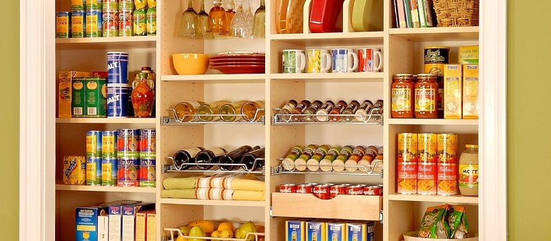 maple pantry shelves